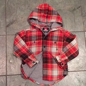 Kids Quicksilver lined cotton plaid hoody. NEW! 4T